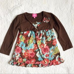 Pinky Brown and Pink Girls Dress - Size 4T